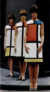 Yves Saint Laurent mondrian collection paired with Roger Vivier pilgrim shoes