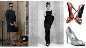 Catherine Devenue in Bell de Jour (far left) Audrey Hepburn (center) and recent designs of the pilgrim