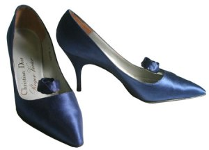 Roger Vivier for Christian Dior blue satin pump
